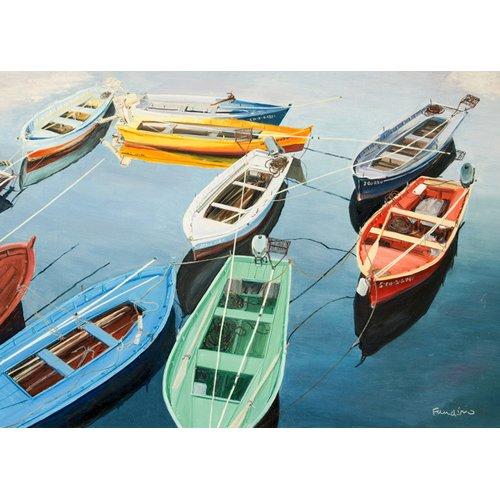 Cuadro - Bright Boats at La Coruña, Spain -