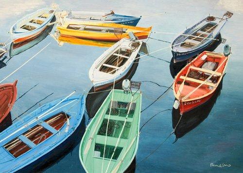 cuadros-de-marinas - Cuadro - Bright Boats at La Coruña, Spain - - Fandino, Anthony