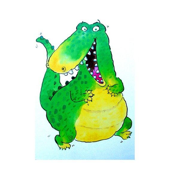 Cuadro -Happy Crocodile (w.c & ink on paper)-