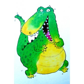 cuadros infantiles - Cuadro -Happy Crocodile (w.c & ink on paper)- - Christie, Maylee