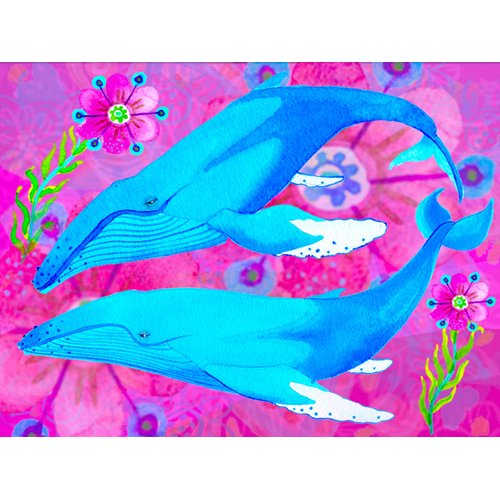 Cuadro -Whales in Love, 2017 (mixed media)-