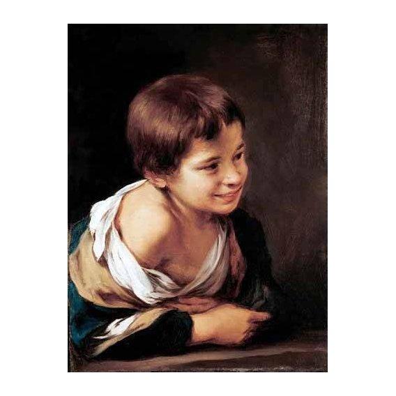 cuadros de retrato - Cuadro -Niño apoyado en un alfeizar-