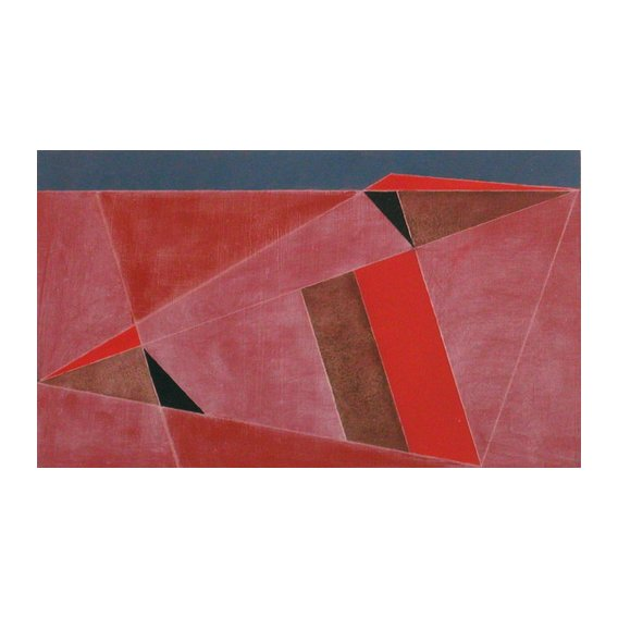 Cuadro -Triangulated Red Landscape, 2002 (oil on board)-