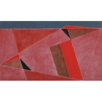 - Cuadro -Triangulated Red Landscape, 2002 (oil on board)- - Dannatt, George