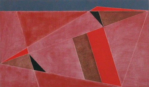 cuadros-abstractos - Cuadro -Triangulated Red Landscape, 2002 (oil on board)- - Dannatt, George