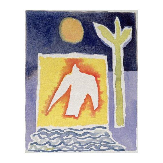 Cuadro -Tree, Sun and Rising Bird, 1989 (w.c)-