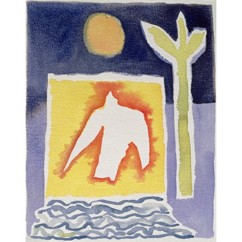 Cuadro -Tree, Sun and Rising Bird, 1989 (w.c)-