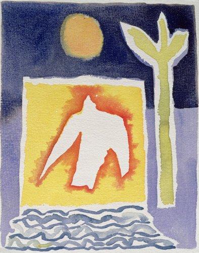 cuadros-modernos - Cuadro -Tree, Sun and Rising Bird, 1989 (w.c)- - Davidson, Peter