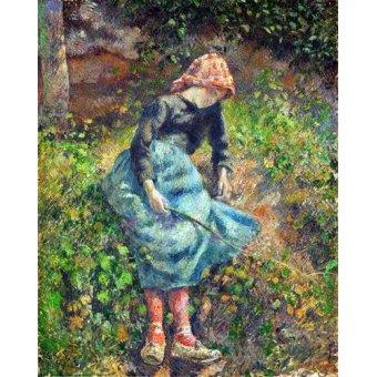 cuadros de retrato - Cuadro -Joven con una varita, 1881- - Pissarro, Camille