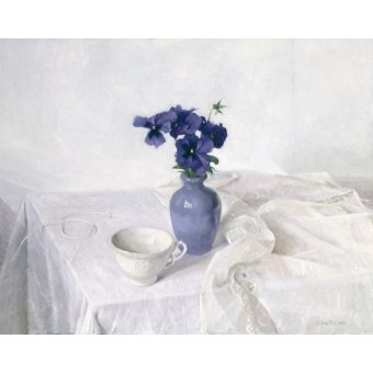cuadros de bodegones - Cuadro -Pansies in a Blue Vase, Still Life, 1990- - Easton, Arthur