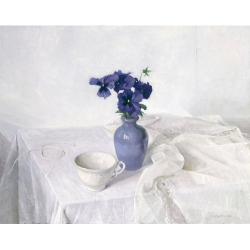 Cuadro -Pansies in a Blue Vase, Still Life, 1990-