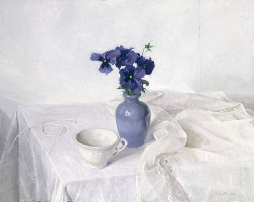 cuadros-de-bodegones - Cuadro -Pansies in a Blue Vase, Still Life, 1990- - Easton, Arthur