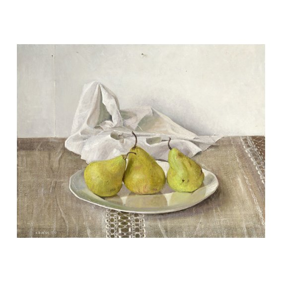Cuadro -Three Pears on a Plate, Still Life, 1990-