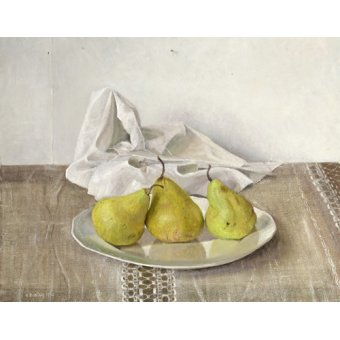 cuadros de bodegones - Cuadro -Three Pears on a Plate, Still Life, 1990- - Easton, Arthur