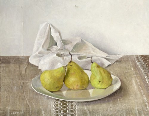 cuadros-de-bodegones - Cuadro -Three Pears on a Plate, Still Life, 1990- - Easton, Arthur