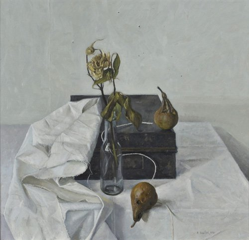 cuadros-de-bodegones - Cuadro -The Box and Rotten Pears, 1990- - Easton, Arthur