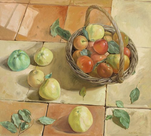 cuadros-de-bodegones - Cuadro -The Apple Basket- - Easton, Timothy