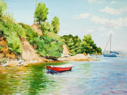 cuadros-de-marinas - Cuadro -Boats at Skiathos, Greece- - Fandino, Anthony