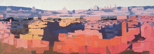 cuadros-modernos - Cuadro -Rome, View from the Spanish Academy on the Gianicolo, Sunset, 1968- - Godlewska de Aranda, Izabella