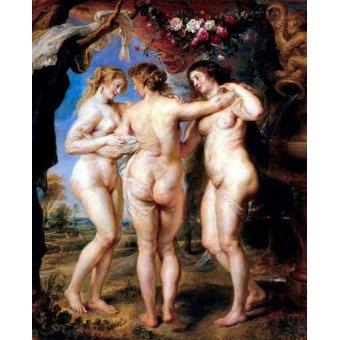 cuadros de desnudos - Cuadro -Las tres gracias- - Rubens, Peter Paulus