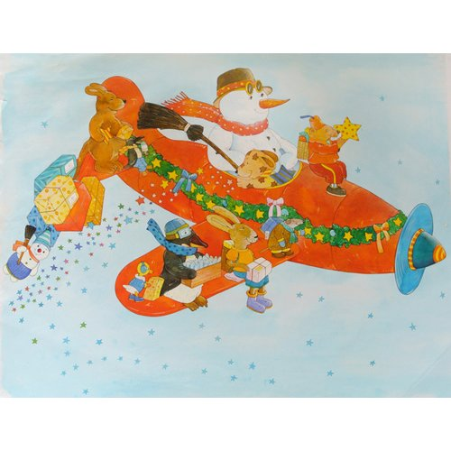 Cuadro -Chistmas Airplane with Snowman-