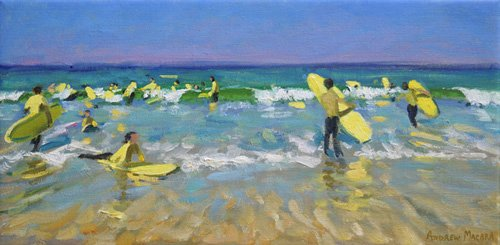 cuadros-de-marinas - Cuadro - Surf School at St. Ives (oil on canvas) - - Macara, Andrew