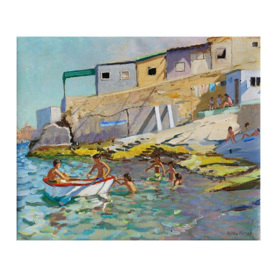 Cuadro -The rowing boat,Valetta,Malta,2015-