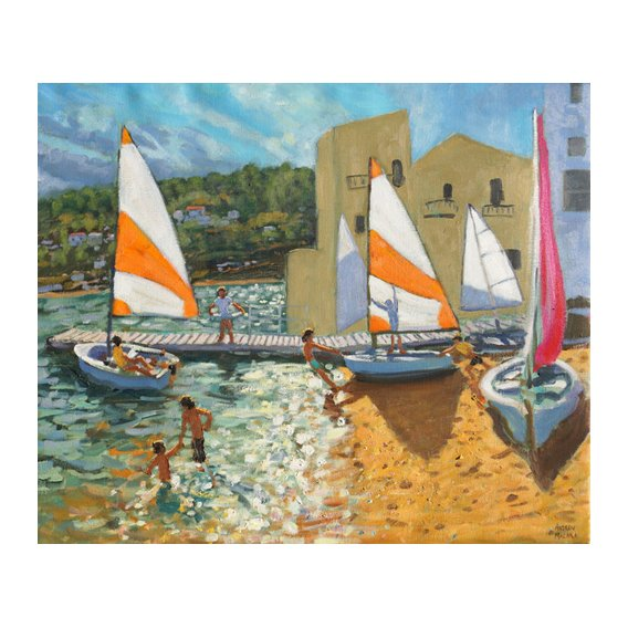 Cuadro -Launching boats,Calella de Palafrugell,Spain-