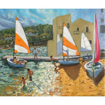 cuadros de marinas - Cuadro -Launching boats,Calella de Palafrugell,Spain- - Macara, Andrew
