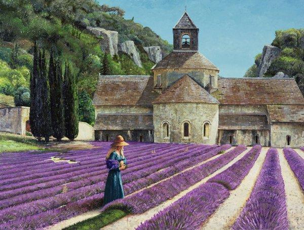 cuadros-de-paisajes - Cuadro - Lavender Picker, Abbaye Senanque, Provence - - Neal, Trevor