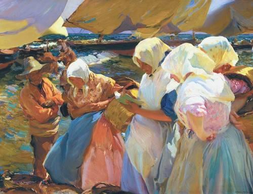 cuadros-de-retrato - Cuadro -Valencianas en la playa- - Sorolla, Joaquin