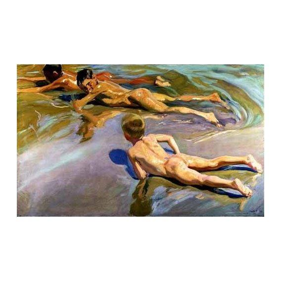 cuadros de retrato - Cuadro -Niños en la playa-
