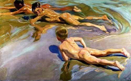 cuadros-de-retrato - Cuadro -Niños en la playa- - Sorolla, Joaquin