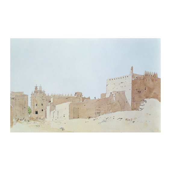 Cuadro -Djenne (Mali) Grande Mosquee, Monday, 2000 (w.c on paper)-
