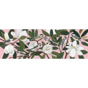 cuadros de flores - Cuadro  - Chickadees on a Southern Magnolia- - Moore, Megan
