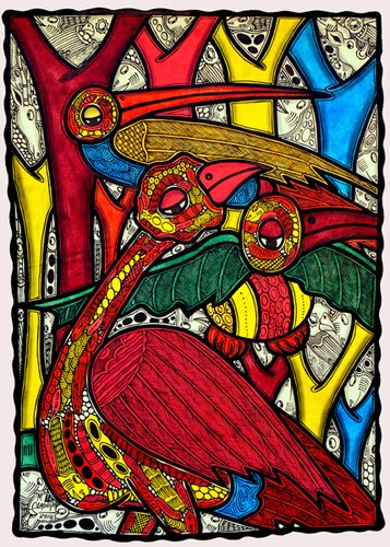 cuadros-para-salon - Cuadro - Bird life, 2013 (ink on canvas) - - Oladoja, Muktair