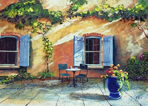 cuadros-de-paisajes - Cuadro -Shuttered Windows, Provence, France, 1999 (oil on board) - - Neal, Trevor
