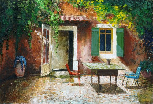 cuadros-de-paisajes - Cuadro -French Patio, 2006 (oil on board) - - Neal, Trevor