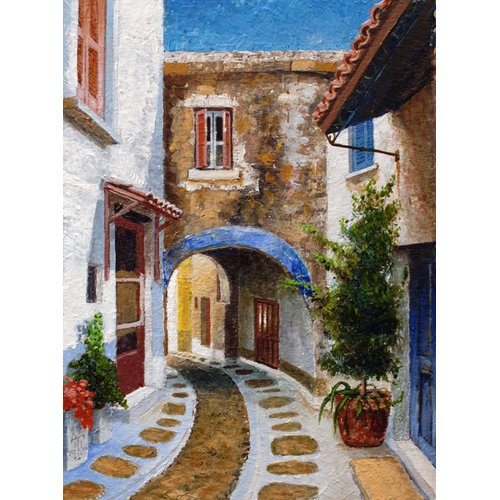 Cuadro -Lefkimi, Corfu, 2006 (oil on board)-