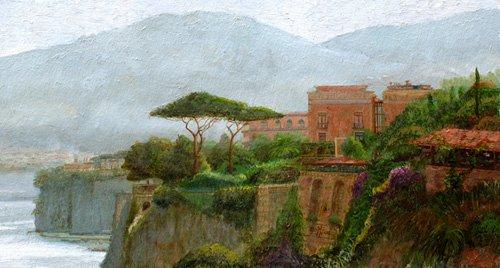 cuadros-de-paisajes - Cuadro -Sorrento Albergo, 2006 (oil on board)- - Neal, Trevor