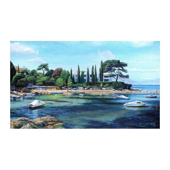 Cuadro -Villa and Boats, South of France -