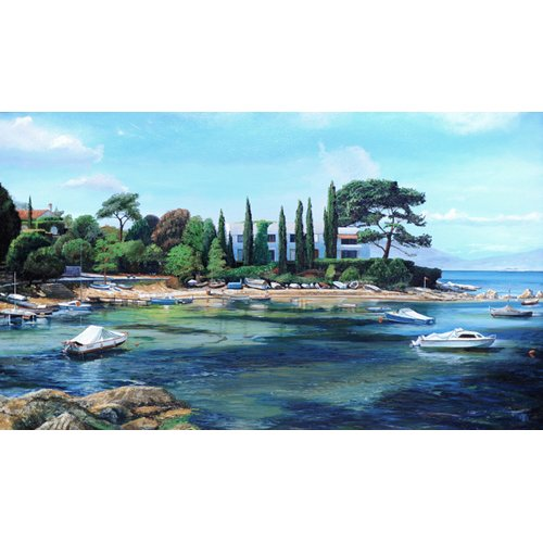 Cuadro -Villa and Boats, South of France -