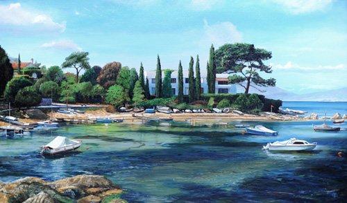 cuadros-de-paisajes - Cuadro -Villa and Boats, South of France - - Neal, Trevor