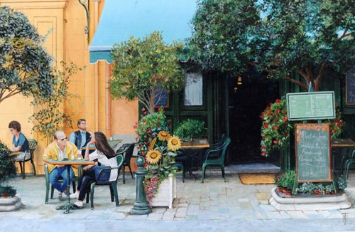 cuadros-de-paisajes - Cuadro -Cafe, Aix-En-Provence, 1999- - Neal, Trevor