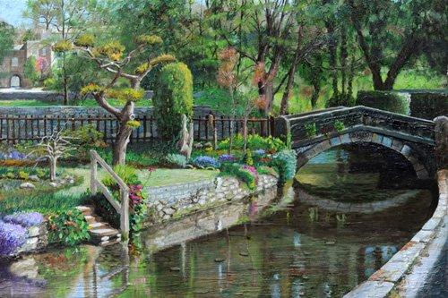 cuadros-de-paisajes - Cuadro -Bridge and Garden, Bakewell, Derbyshire, 2009- - Neal, Trevor