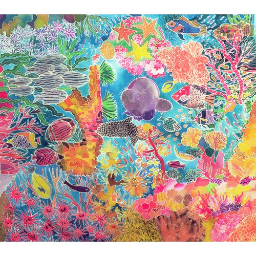 Cuadro - Tropical Coral, 1993 (coloured ink on silk) -