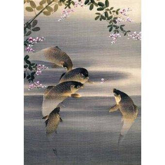 cuadros etnicos y oriente - Cuadro -Peces- - _Anónimo Japones