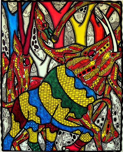 cuadros-para-salon - Cuadro  -Elephant world- - Oladoja, Muktair