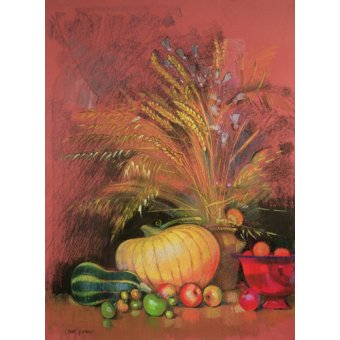 cuadros de bodegones - Cuadro - Autumn Harvest (pastel on paper) - - Spencer, Claire