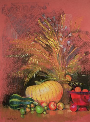 cuadros-de-bodegones - Cuadro - Autumn Harvest (pastel on paper) - - Spencer, Claire
